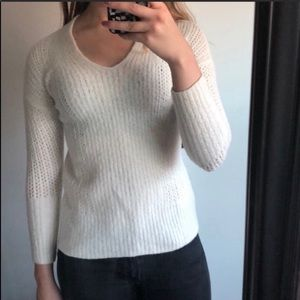 Banana Republic Cream White Open Weave Sweater